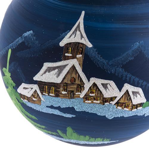 Palla Natale albero paesaggio vetro soffiato 14 cm 2