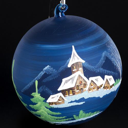 Palla Natale albero paesaggio vetro soffiato 14 cm 3