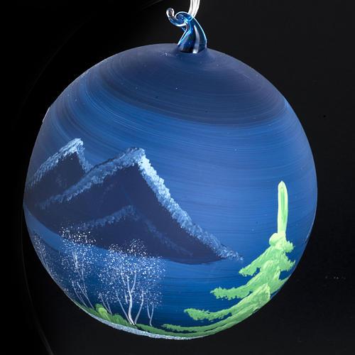 Palla Natale albero paesaggio vetro soffiato 14 cm 4