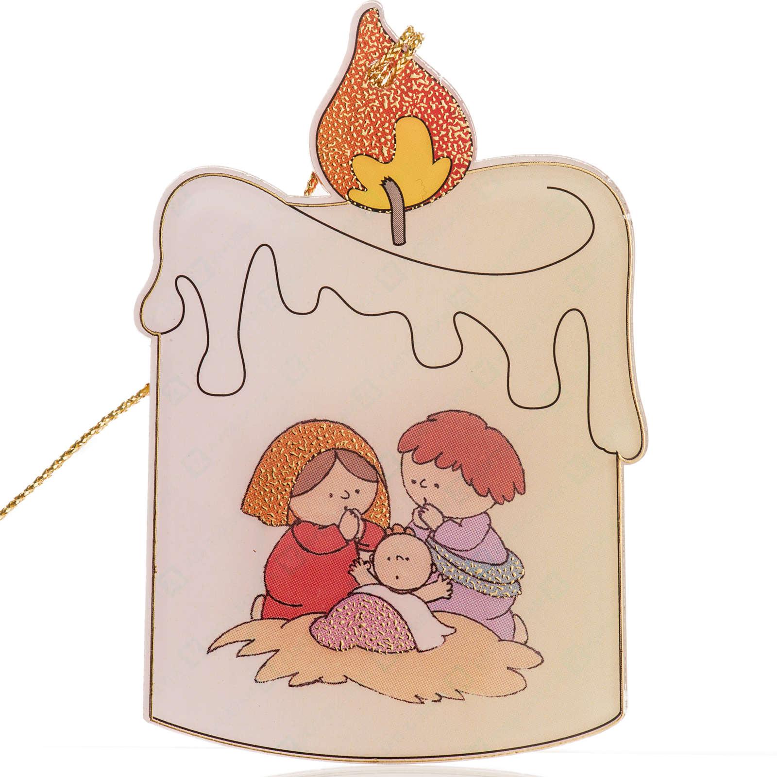 Enfeite natalino para árvore acrílico vela com Natividade 4