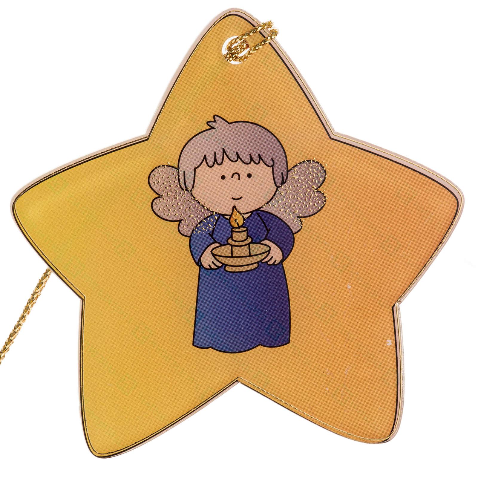 Adorno para árbol de navidad, estrella con ángel 4