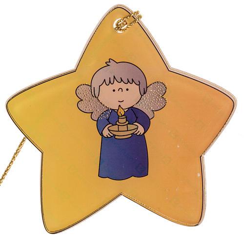 Adorno para árbol de navidad, estrella con ángel 1