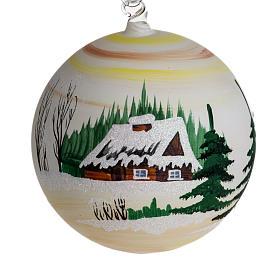 Palla Natale per albero vetro dipinto paesaggio 14 cm s1