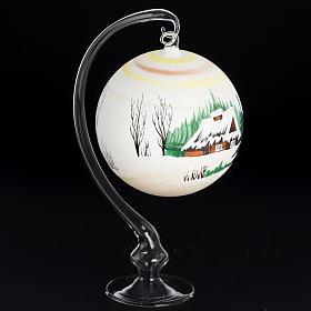 Palla Natale per albero vetro dipinto paesaggio 14 cm s3