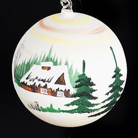 Palla Natale per albero vetro dipinto paesaggio 14 cm s4