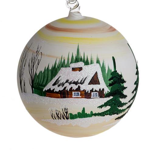 Palla Natale per albero vetro dipinto paesaggio 14 cm 1