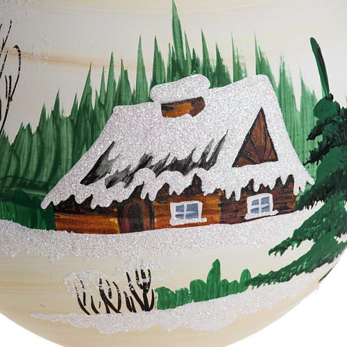 Palla Natale per albero vetro dipinto paesaggio 14 cm 2