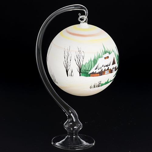 Palla Natale per albero vetro dipinto paesaggio 14 cm 3