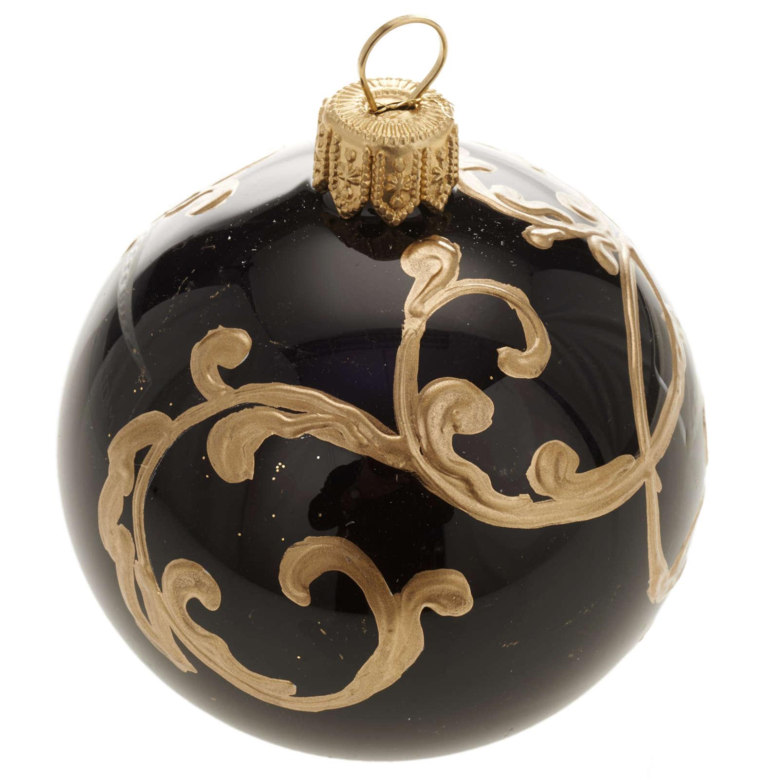 Décoration sapin, boule noire décorée 6 cm 4