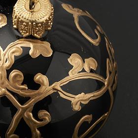 Décoration sapin, boule noire décorée 6 cm s3