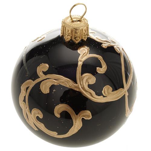 Décoration sapin, boule noire décorée 6 cm 1