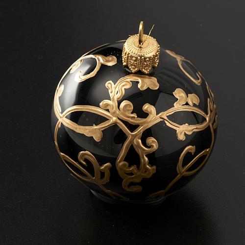 Décoration sapin, boule noire décorée 6 cm 2