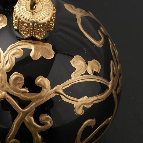 Décoration sapin, boule noire décorée 6 cm 3