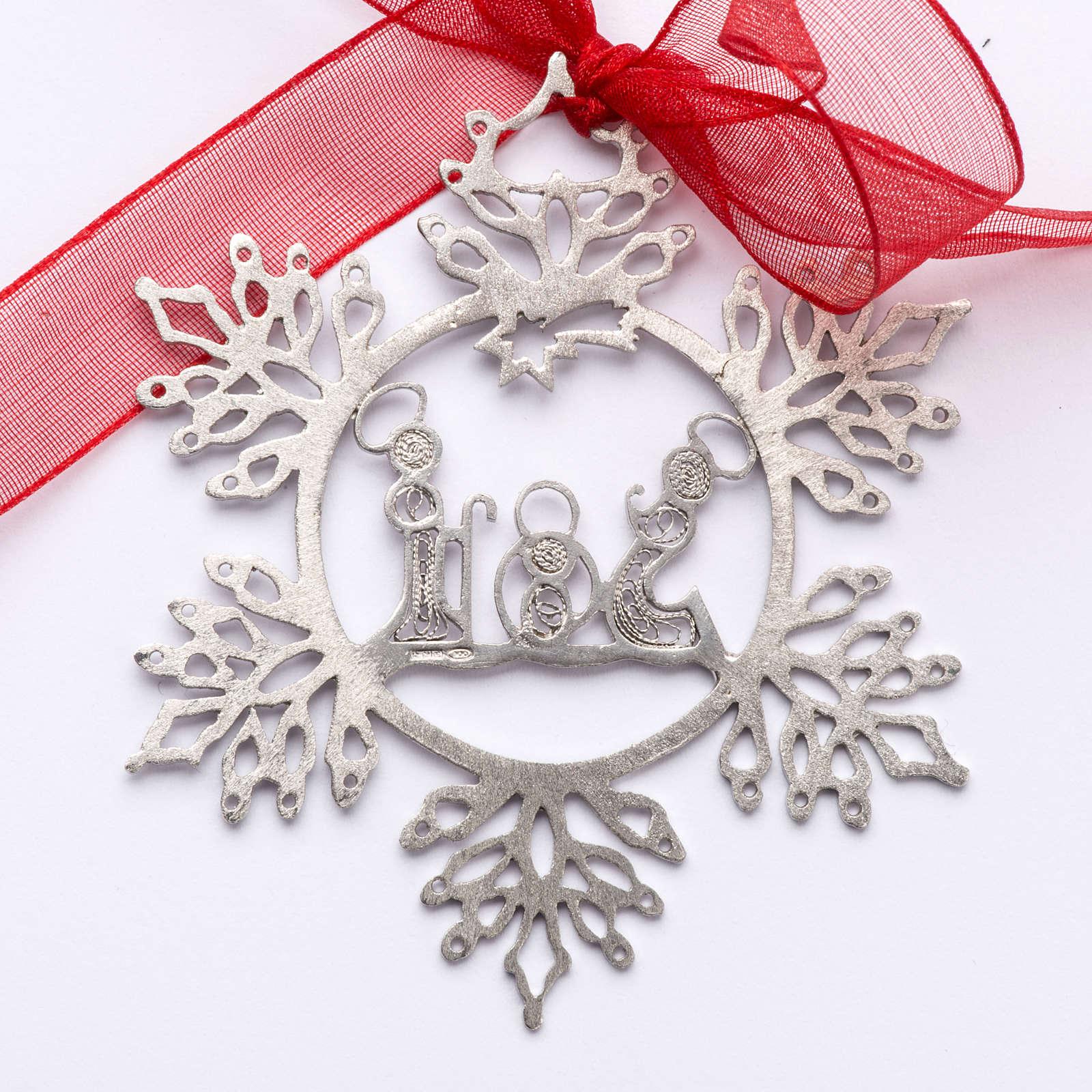Addobbo Albero Natale argento 800 natività stella 4