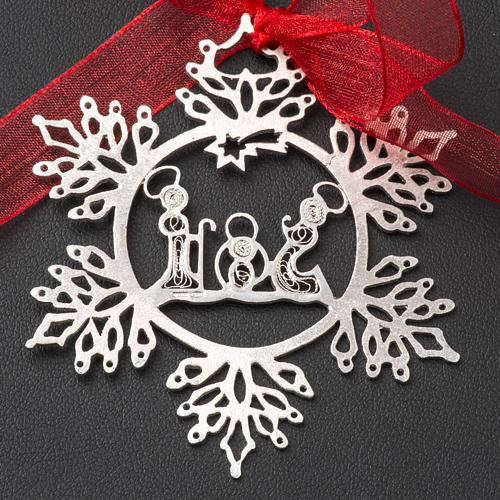 Addobbo Albero Natale argento 800 natività stella 2