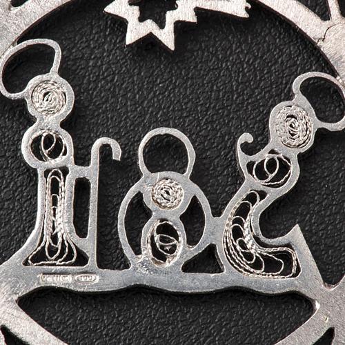 Addobbo Albero Natale argento 800 natività stella 3