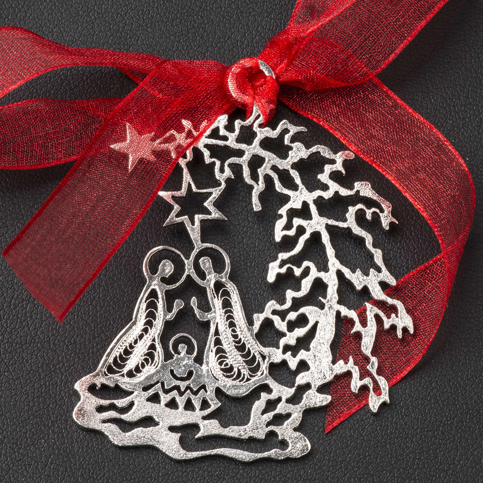 Addobbo Albero Natale argento 800 natività 4