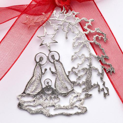 Addobbo Albero Natale argento 800 natività 1