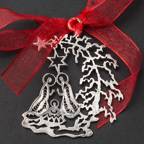 Addobbo Albero Natale argento 800 natività 2