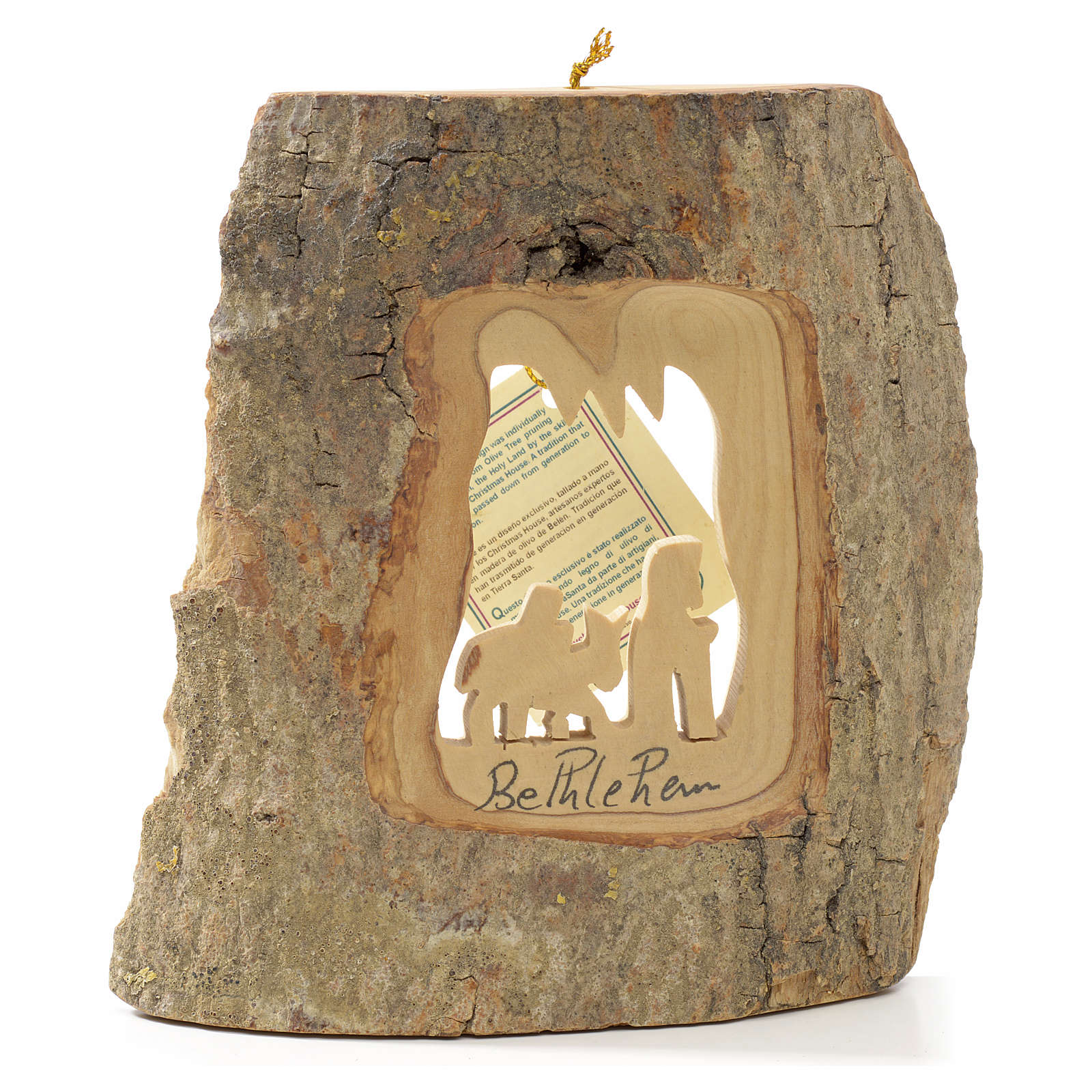 Christmas tree decoration in Holy Land olive wood, Flight into E 4