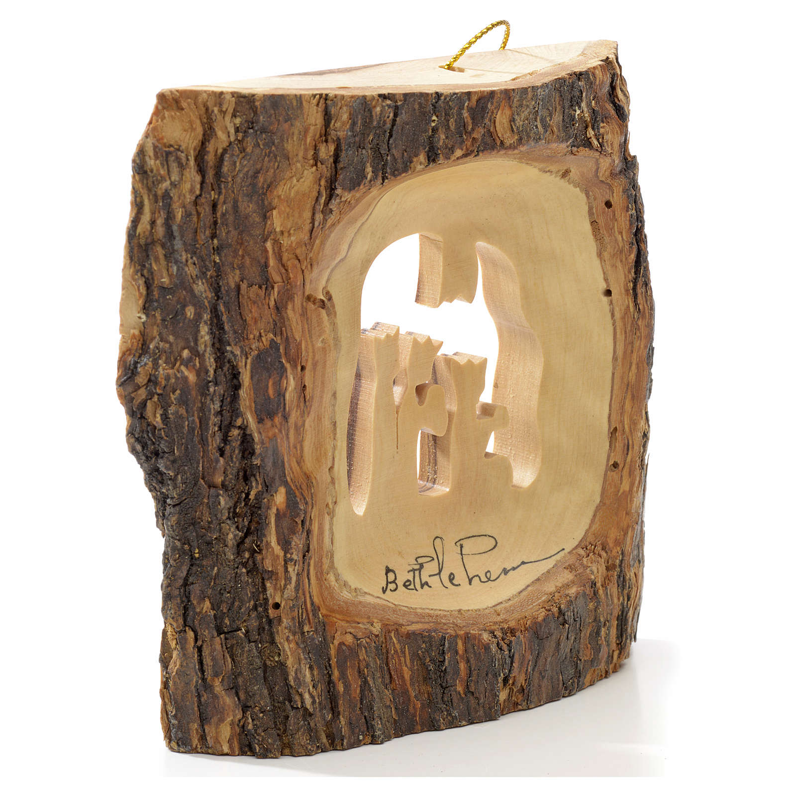 Christmas tree decoration in Holy Land olive wood, trunk with Wi 4