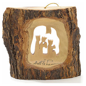 Christmas tree decoration in Holy Land olive wood, trunk with Wi s5