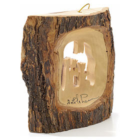 Christmas tree decoration in Holy Land olive wood, trunk with Wi s4