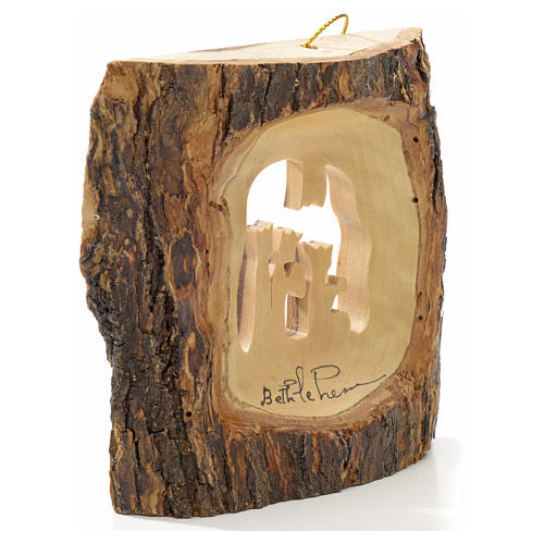 Christmas tree decoration in Holy Land olive wood, trunk with Wi 6