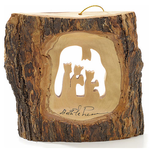 Christmas tree decoration in Holy Land olive wood, trunk with Wi 2