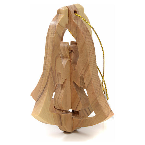 Christmas tree decoration in Holy Land olive wood, bell and ange 2