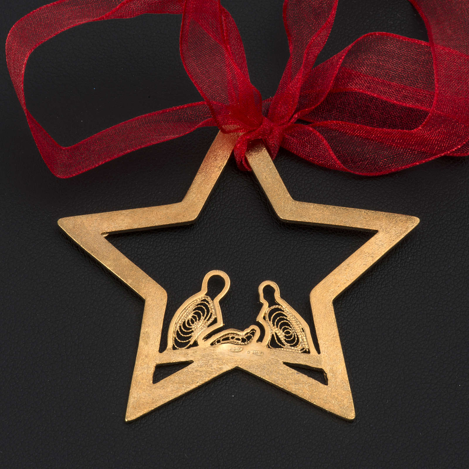 Christmas tree decoration in Holy Land olive wood, drop with nat 4