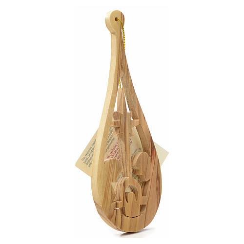 Christmas tree decoration in Holy Land olive wood, drop with nat 6