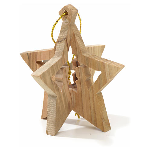 Christmas tree decoration in Holy Land olive wood with star 1