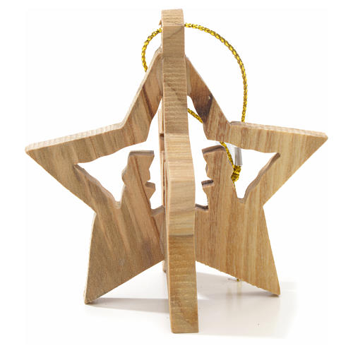 Christmas tree decoration in Holy Land olive wood with star 2