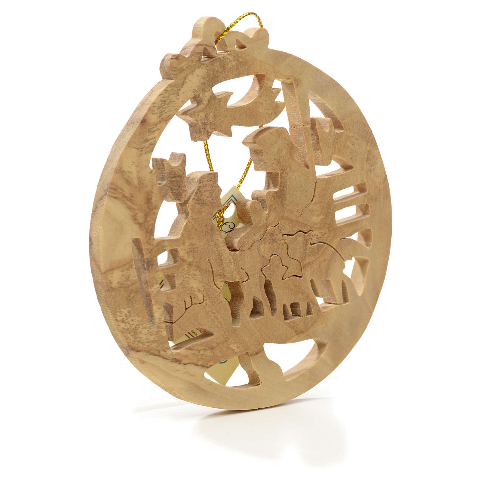 Christmas tree decoration in Holy Land olive wood, round 4