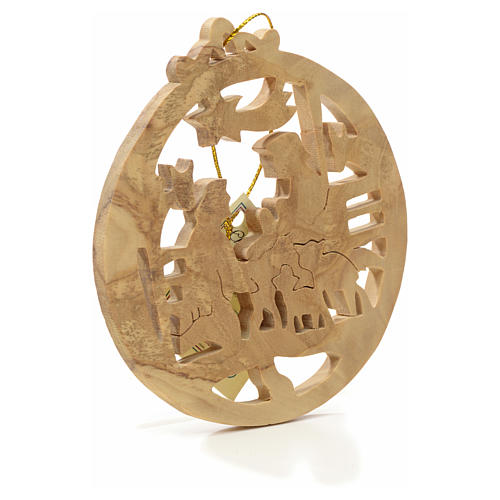 Christmas tree decoration in Holy Land olive wood, round 2