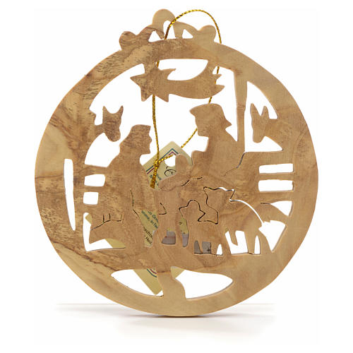 Christmas tree decoration in Holy Land olive wood, round 1