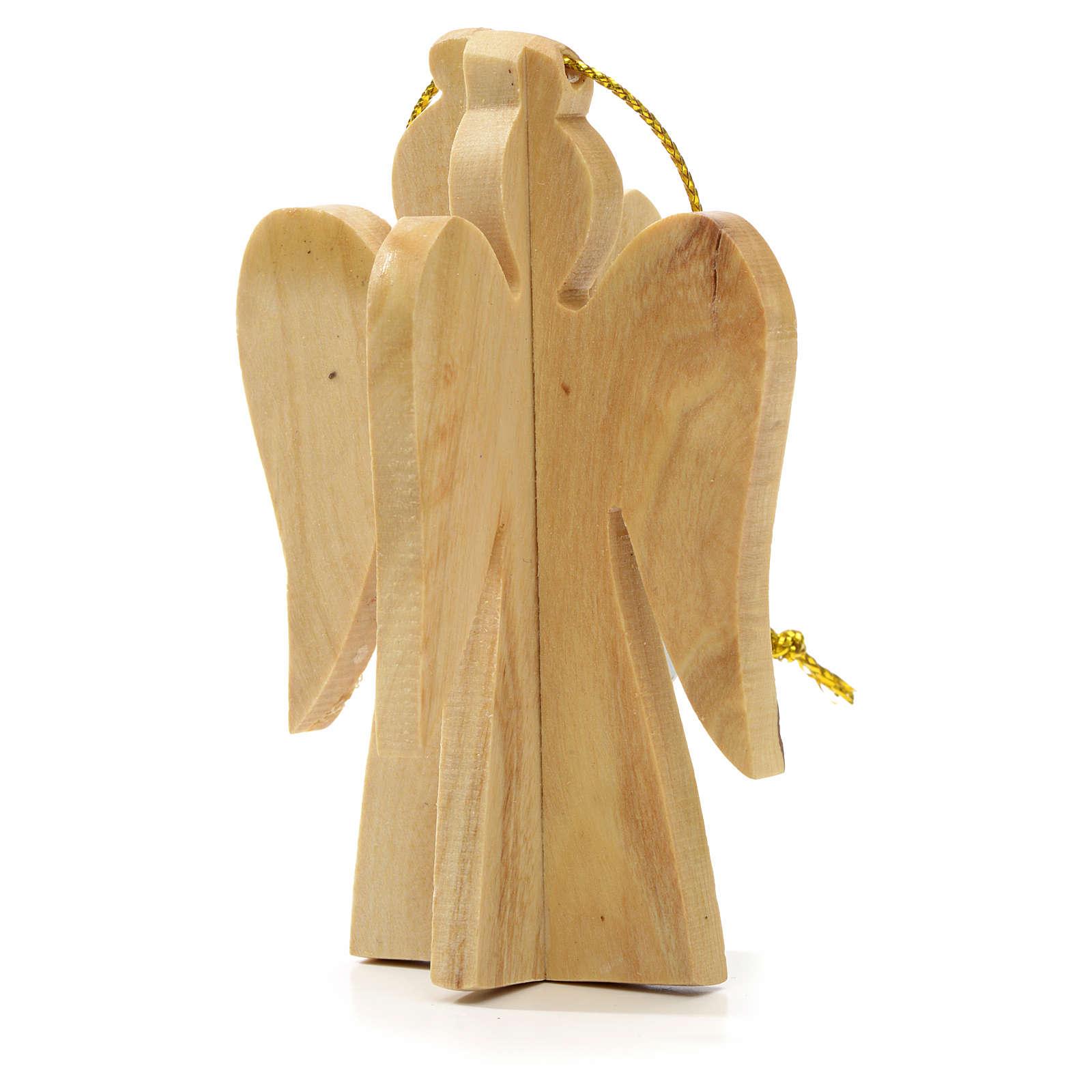 Ange à suspendre au sapin en bois d'olivier Terre Sainte 4