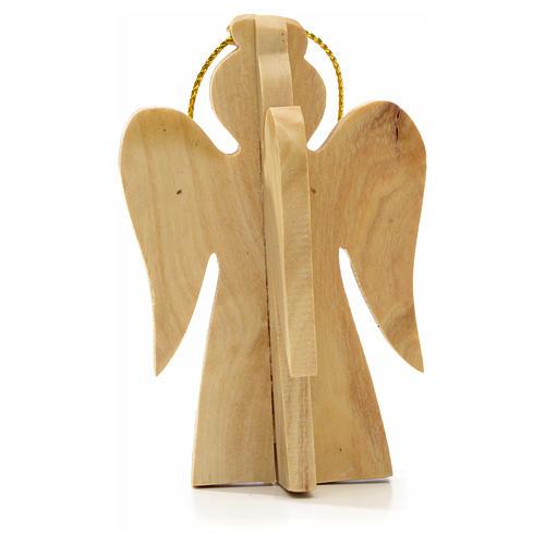 Ange à suspendre au sapin en bois d'olivier Terre Sainte 2