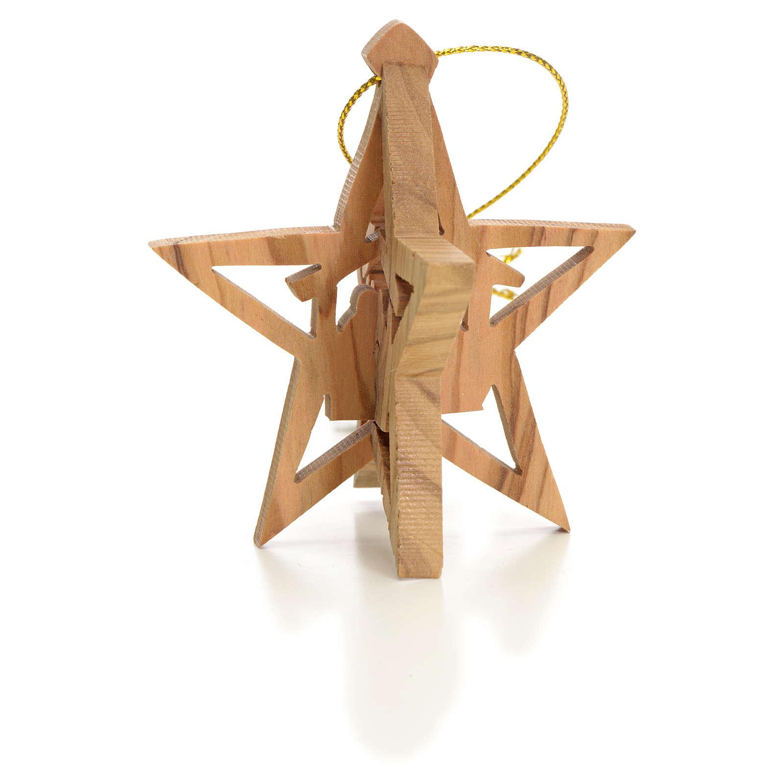 Adorno estrella tallado Reyes Magos olivo 4