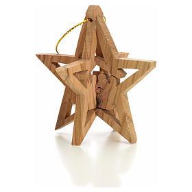 Adornos de madera y pvc para Árbol de Navidad: Adorno estrella tallado Reyes Magos olivo