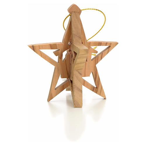 Adorno estrella tallado Reyes Magos olivo 2