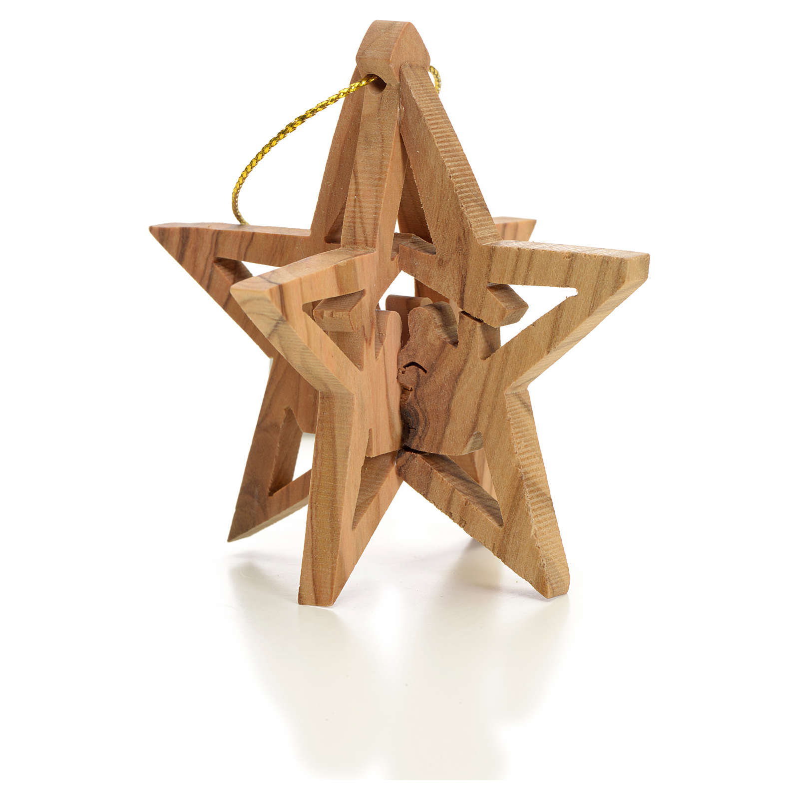 Christmas tree decoration in Holy Land olive wood star with Wise 4