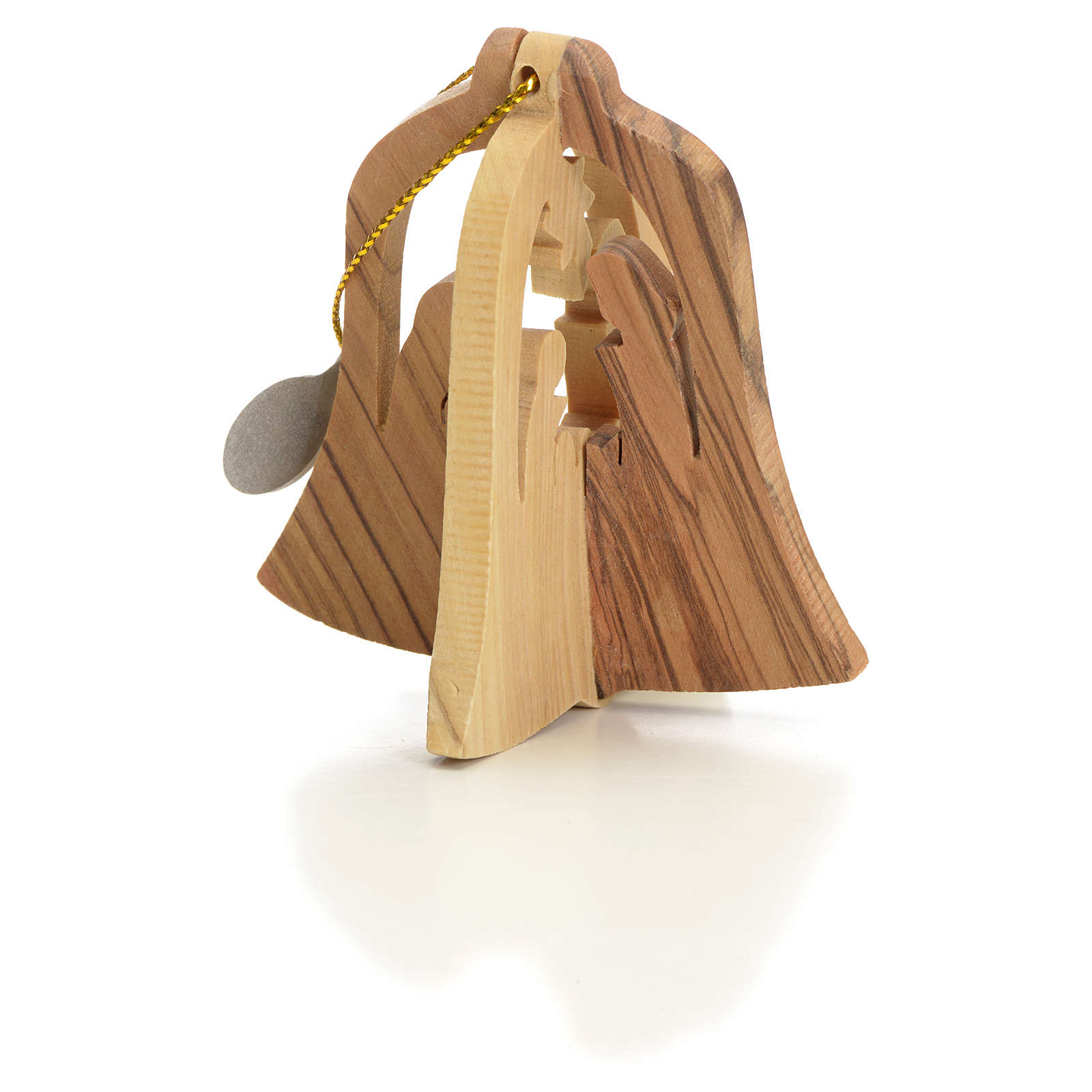 Christmas tree decoration in Holy Land olive wood bell with Wise 4