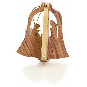 Christmas tree ornaments in wood and pvc: Christmas tree decoration in Holy Land olive wood bell with Wise