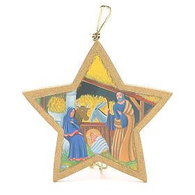 Adornos de madera y pvc para Árbol de Navidad: Estrella dorada con cuerda 9,5 x 9,5 cm