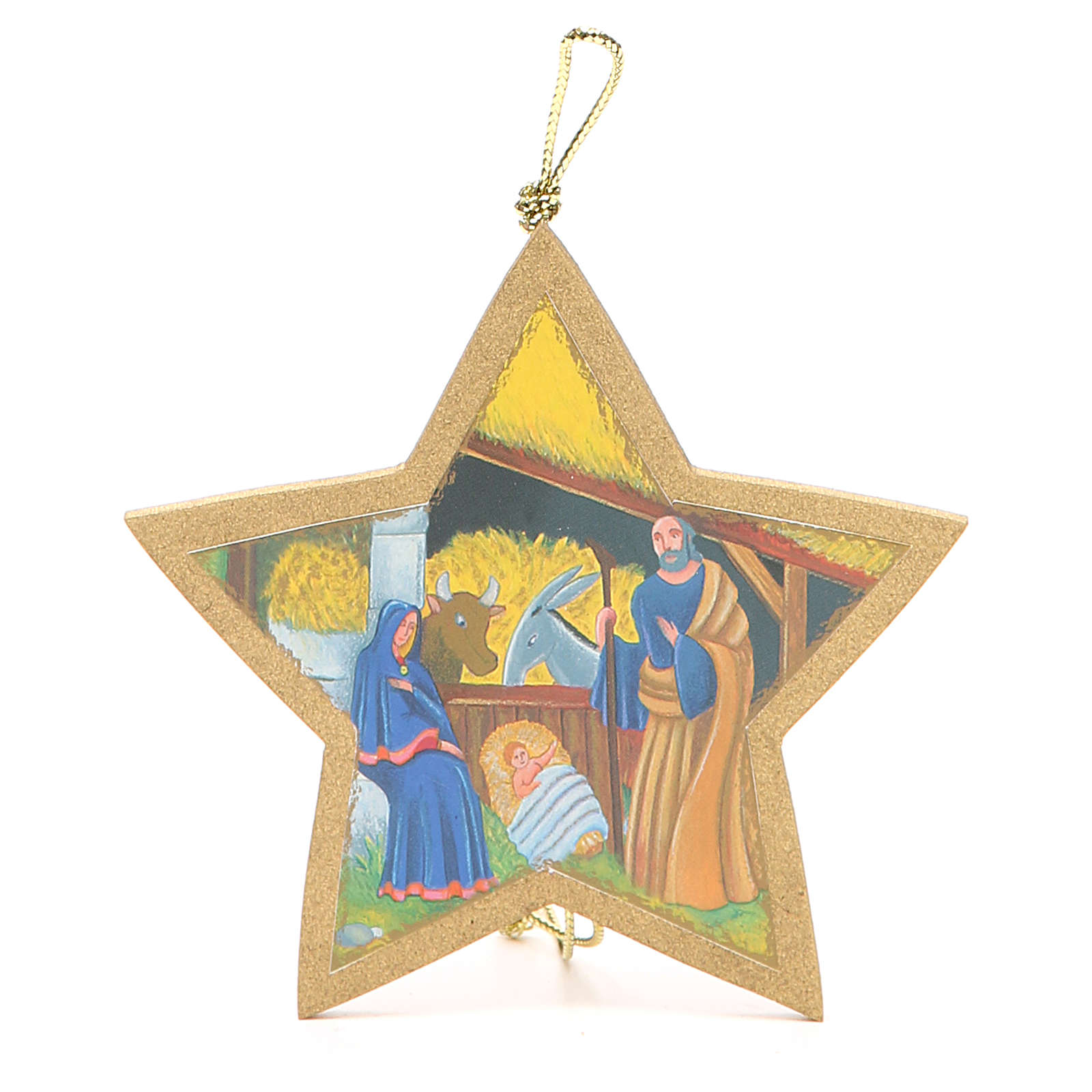 Guiding Star golden with rope 9,5x9,5cm 4