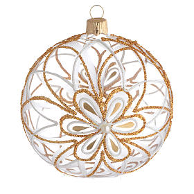 Christmas balls: Christmas Bauble flower white/gold 10cm