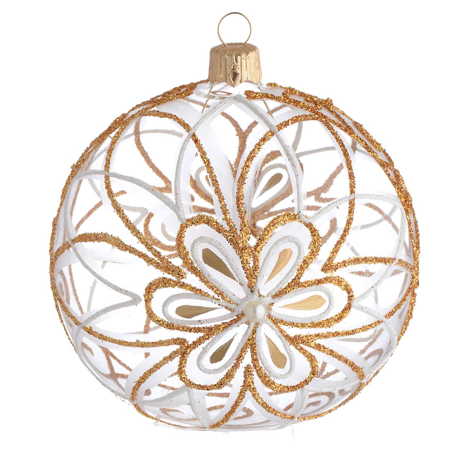 Pallina Natale vetro soffiato fiore bianco/oro 100mm 4