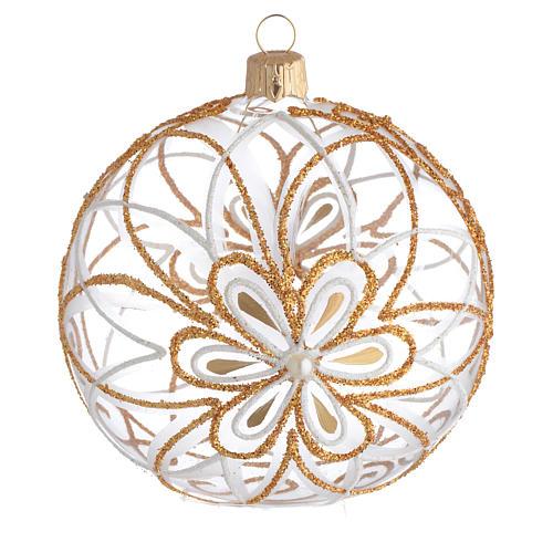 Pallina Natale vetro soffiato fiore bianco/oro 100mm 1